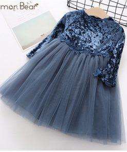 Humor Bear long sleeve children dress NewAutumn Fashion Style Girls Dress Princess Dress Kids Dress Children Clothes