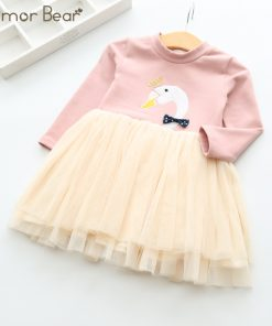 Humor Bear Princess Dress Long Sleeve Brand Spring Autumn Baby Girls Dress Cartoon Dresses For Girls Clothes for 3-7Y 1
