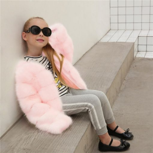 HH Girls fur coat Winter Elegant Baby Girl Faux Fur Jackets And Coats Thick Warm Parka Kids Outerwear Clothes jacket children 3