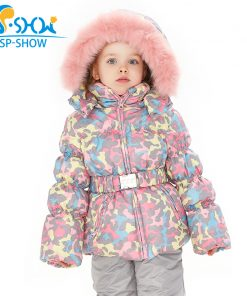 SPSHOW Kids Girls Winter Clothes Luxury Brand 3-8 Age Down Thick Warm Fleece Winter Jacket Fur Hooded Jacket + Trousers Ski Suit 1