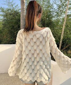Spring Autumn New Fashion Women Loose Flare Sleeve Sweater Jumper Lady Hollow Knitted Sweaters And Pullovers Knitwear Tops 1