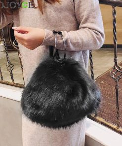 Sweet Girls Soft Black White Handbags Faux Fur Women Tote Bags Large Capacity Evening Party Shoulder Bag Travel Totes female