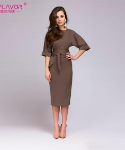 S.FLAVOR simple straight dress for office Ladies 2018 autumn new O-neck half sleeve knee-length vestidos with belt casual dress 1