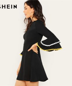 SHEIN Black Contrast Tape Layered Flounce Sleeve Dress Casual Contrast Lace Ruffle A Line Dresses Women Autumn Elegant Dress  1