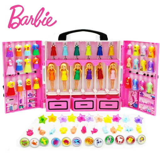 Original Barbie 6 dolls/Set Mini Barbies With Dress Clothes Birthday Series American Girls Boneca brinquedos Toys For Children