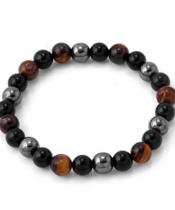 DIEZI Yoga Tiger Eye Hematite Black Obsidian 8mm Stone Bracelet for Drop Shipping 1