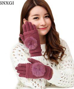 VISNXGI New Women Wool Gloves Dark Gray 3 Ways Use Rabbit Fur Thicken Winter Pompon Gloves Touched Female Warm Mittens 9 Colors