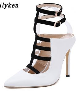 Eilyken 2018 New Design White High Heels Pumps Sandals 12CM Fashion Pointed Toe Buckle Strap Gladiator Thin Heel Woman Shoes 1