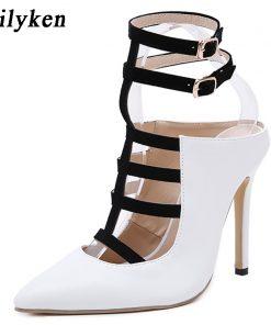 Eilyken 2018 New Design White High Heels Pumps Sandals 12CM Fashion Pointed Toe Buckle Strap Gladiator Thin Heel Woman Shoes 1