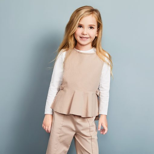 Balabala 3pcs/set girls clothing set cotton toddler girl clothes suit costume Solid preppy style tshirt + leggings + vest sets 1