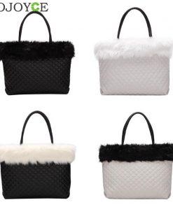 Elegant Fur Plaid Leather Shoulder Handbags Women Large Capacity Totes Bags