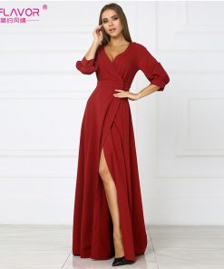 S.FLAVOR red sexy party vestidos 2018 autumn hot sale new three quarter sleeve long dress female V-Neck empire high slit dress 1
