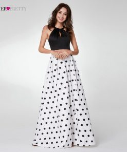 2018 Fashion Two-Piece Halter Prom Dress Ever Pretty EP07217 Women's A-line Sleeveless  Cross Back Polka Dot Printed Prom Gown  1
