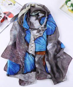 VISNXGI 2018 Fashion Women Silk Scarf Beach Shawl And Echarpe Wrap Designer Scarves Plus Size Female Beach Bandana Print Wraps 1