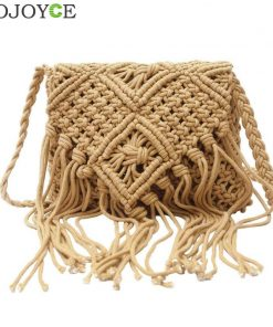 2018 Fashion Light Brown Handmade Cotton Rope Hollow Out Woven Tassel Bag Trend Women's Handbag Straw Shoulder Bag For Ladies