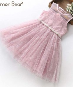 Humor Bear princess Dress 2018 NEW Baby Girls Dress Party Flower Girl Christening Wedding Party Pageant Dress kids clothing