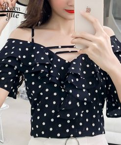fashion woman blouses 2018 sexy dot chiffon women blouse shirt summer short sleeve women tops blusas feminine blouses 0282 40