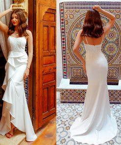 2018 Wedding Dresses Ever Pretty EP07232 Women's Fashion Simple Backless Lace Cheap Long Bridal Gowns Vestido De Noiva 1