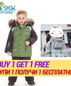 BUY 1 SUIT GET 1 FREE SCARF  -30 degrees SP-SHOW Winter 90% White down suit nature fur Boy and Girl Coats Kids Clothing Sets Ski 1