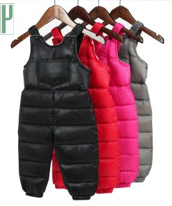 Children warm pants Waterproof Overalls Brand Baby boys trousers Kids pants Thick Down cotton toddler girls leggings winter