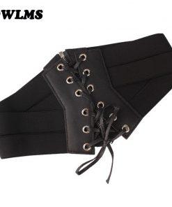 Sexy Women Corset Belt PU Leather cummerbunds Zipper Bandage HOT Elastic Cincher Wide Waistband cummerbund Black Ceinture Femme