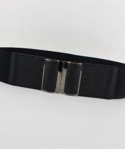 New Design Cummerbund HOT wide PU leather Cummerbunds punk elastic belt square buckle black dress decorate waistband strap women 1