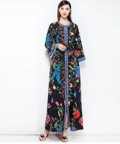 2018 designer fashion Casual Floral Print Maxi Long Dress Plus Size Women's Flare Sleeve High Split Belt Long Gown Elegant Dress 1