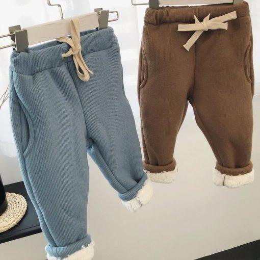 Toddler Boys trousers Thick winter velvet baby pants girl leggings children elastic waist girls warm leggings thickening pants 3