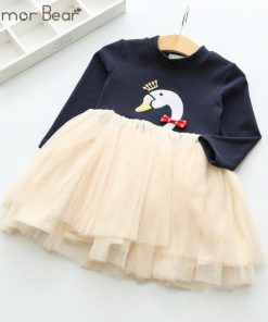 Humor Bear Princess Dress Long Sleeve Brand Spring Autumn Baby Girls Dress Cartoon Dresses For Girls Clothes for 3-7Y