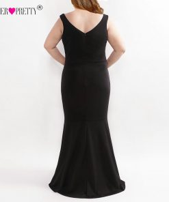 Elegant Plus Size Evening Dress Ever Pretty Black Embroidery Applique Mermaid Formal Gown EZ07689 Asymmetrical Hem Bodycon Dress 1