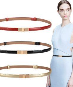 New design belts thin adjust belt PU leather black dress cummerbunds students  women waistbands red flower buckle square gifts 1