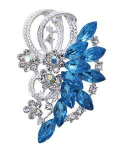 DIEZI New Bride Bouquet Summer Blue Luxury Beach Brooches for Wedding Korean Leaf Flower Rhinestone Brooch Pins Women Brooch 1