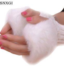 Fashion Guantes Patchwork Gloves Women Wool Gloves Faux Rabbit Fur Knitted Glove Cute Woman Half Finger Mittens Plaid Luvas G015