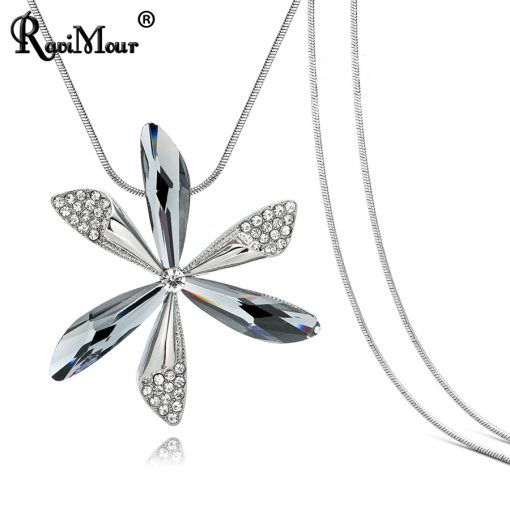RAVIMOUR New Long Necklace Women Silver Chain Collares Mujer Big Flower Crystal Necklaces Pendants Fashion Korean Jewellery 2018 2