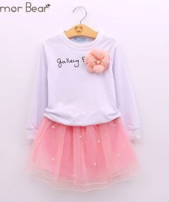 Humor Bear NEW Autumn Baby Girl Clothes Girls Clothing Sets Cartoon Sequins Cat Long Sleeve+Stars Skirt Casual 2PCS Girls Suits 1