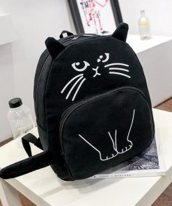 Casual Canvas School Backpack Women Lovely Cat Printed Zipper Backpack Teenager Large Capacity Shoulder Bag Travel Knapsack 1