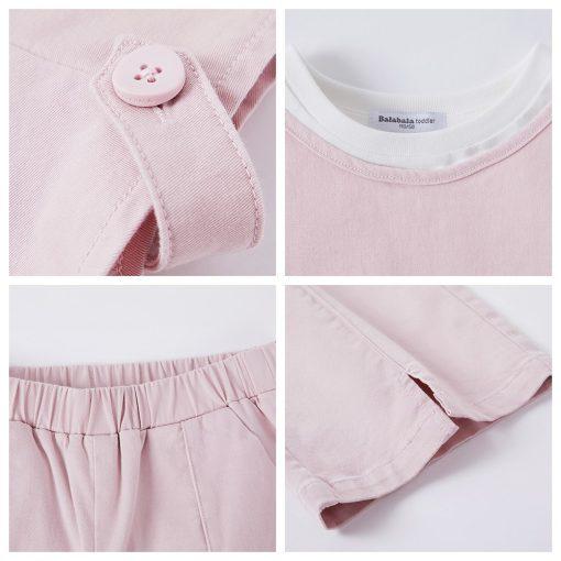 Balabala 3pcs/set girls clothing set cotton toddler girl clothes suit costume Solid preppy style tshirt + leggings + vest sets 5