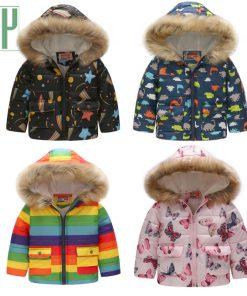 Kids winter jacket with fur Hooded dinosaur Printed rainbow children snow jacket Boy Windbreaker Outerwear Girls Parkas Coats