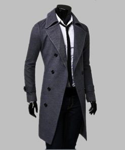 New Fashion Trench Coat Men Long Coat Winter Famous Brand Mens Overcoat Double-Breasted Slim Fit Men Trench Coat Plus Size 1