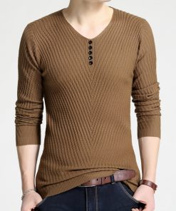 Casual Sweater Men 2018 New Arrival Autumn Winter Pullover Men Slim Fit V-neck Solid Quality Long Sleeve Brand Clothing M-4XL 1