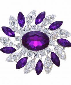 DIEZI New Bride Bouquet Summer Purple Brooch Jewelry Korean Flower Crystal Rhinestone Brooch Pins Brooches For Wedding Women 1