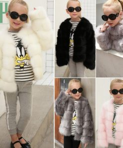 HH Girls fur coat Winter Elegant Baby Girl Faux Fur Jackets And Coats Thick Warm Parka Kids Outerwear Clothes jacket children