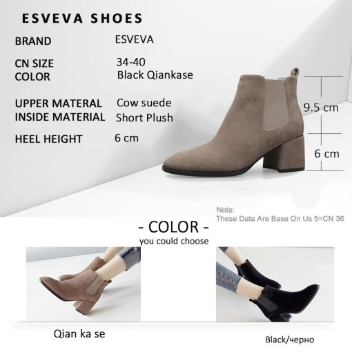 ESVEVA 2019 Ankle Boots for Women Shoes Round Toe Square High Heels Synthetic Woman Boots Shoes Autumn Ladies Boots Size 34-39 5