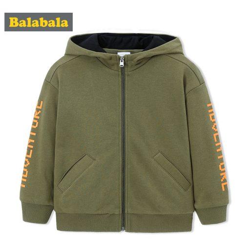 balabala Children Boys Jackets Autumn 2018 New Child Wear Casual Hooded Baseball Uniform Fashion Loose Fun Cardigan For Boys