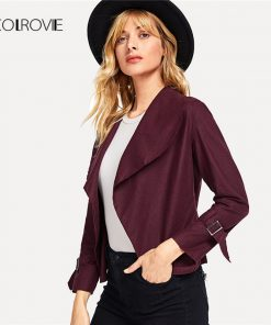 COLROVIE Burgundy Work Buckle Detail Sleeve Short Jacket Women 2018 New Grey Feminino Coats Outwear Fashion Women Coat Clothes
