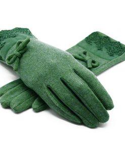 VISNXGI 2018 New Winter Women Warm Gloves Solid Lace Cashmere Gloves Wrist Length Fashion Mittens Gloves Female Women's Gloves 1