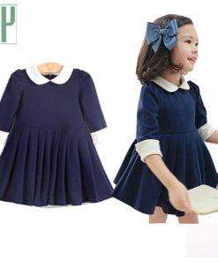Toddler Girl party Dress elegant Vintage navy tutu dress Baby girls clothes Half Sleeve Princess kids costume ball gowns fringe