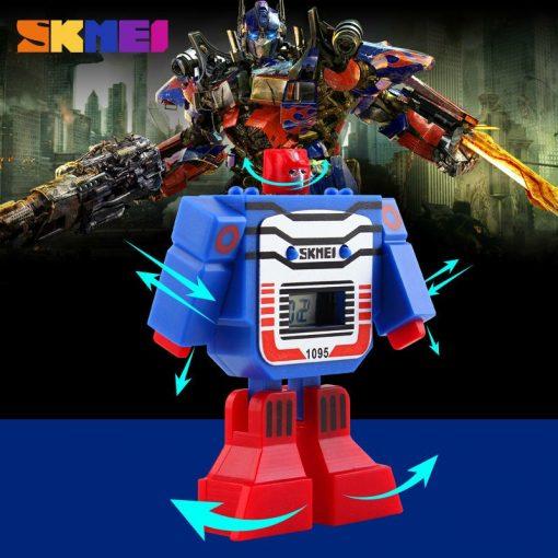 SKMEI Kids LED Digital Children Watch Cartoon Sports Watches Relogio Robot Transformation Toys Boys Wristwatches 1095 3