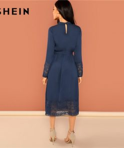 SHEIN Navy Going Out Weekend Casual Pleated Ruffle Trim Lace Trim Dress 2018 Autumn Long Sleeve Elegant Dress Women Dresses 1