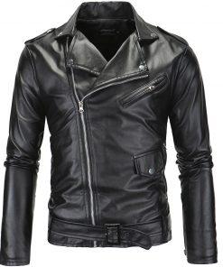 Danjeaner 2018 Men Leather Jackets New Arrive Motorcycle PU Jacket  Plus Size Turn-down Collar Slim Windbreaker Bomber Jacket